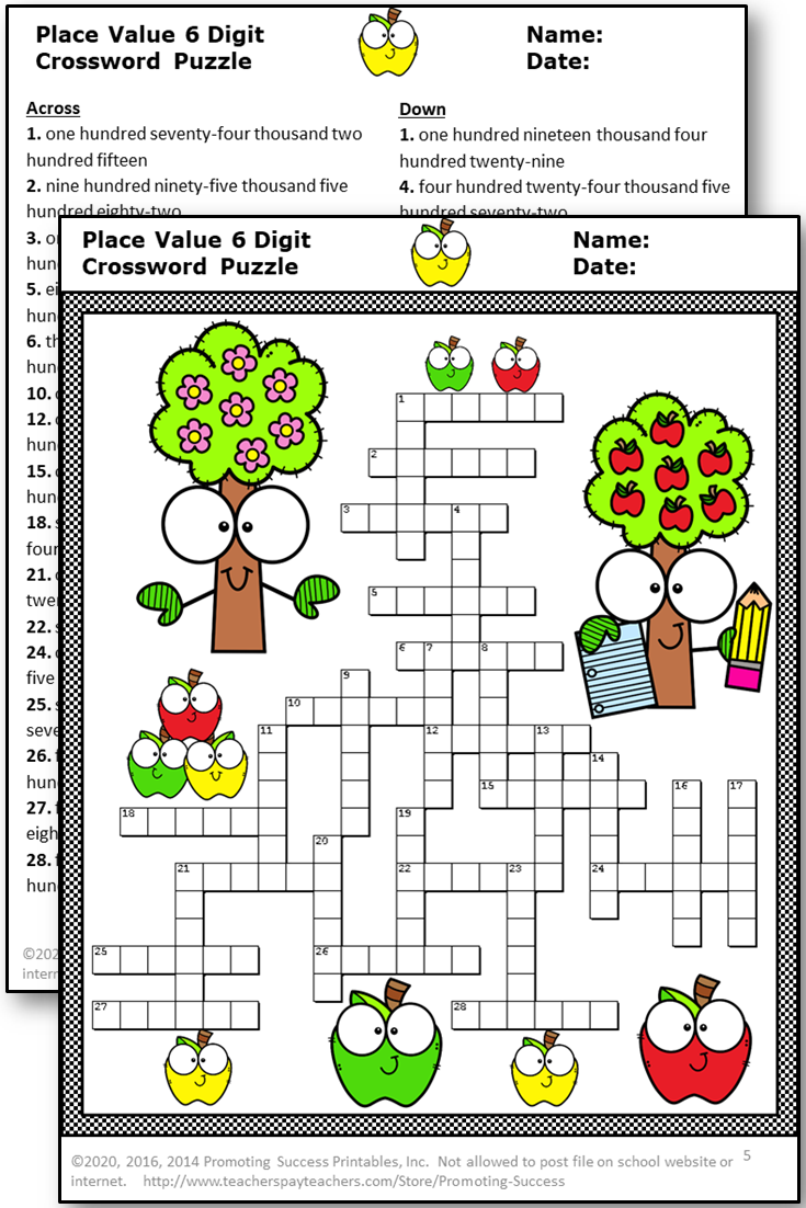 hight resolution of Place Value Activities Crossword Puzzle Worksheets Bundle 2nd 3rd 4th Grade    Place value activities