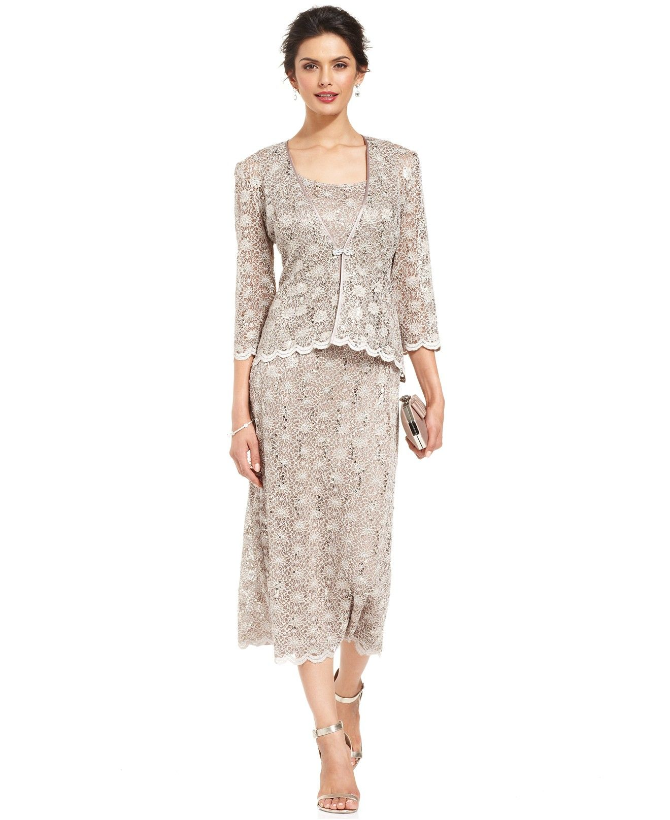 R m richards sleeveless sequined lace dress and jacket for Macy wedding dresses mother of the bride
