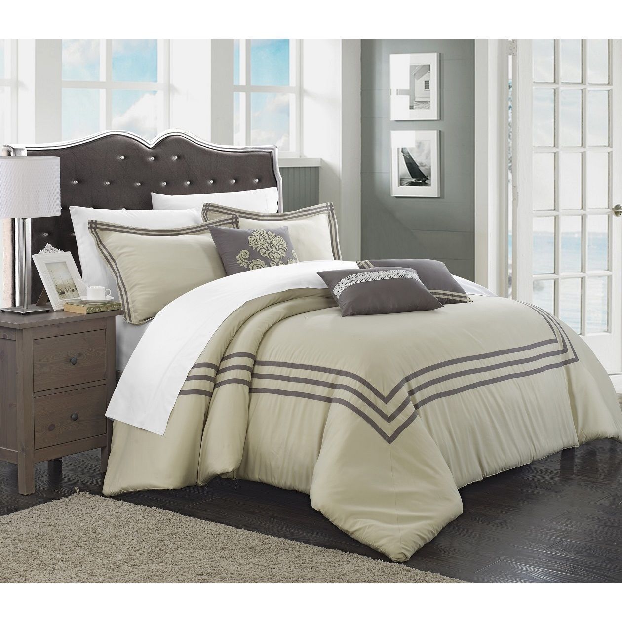 chic home cornelius 12 piece silver bed in a bag comforter set