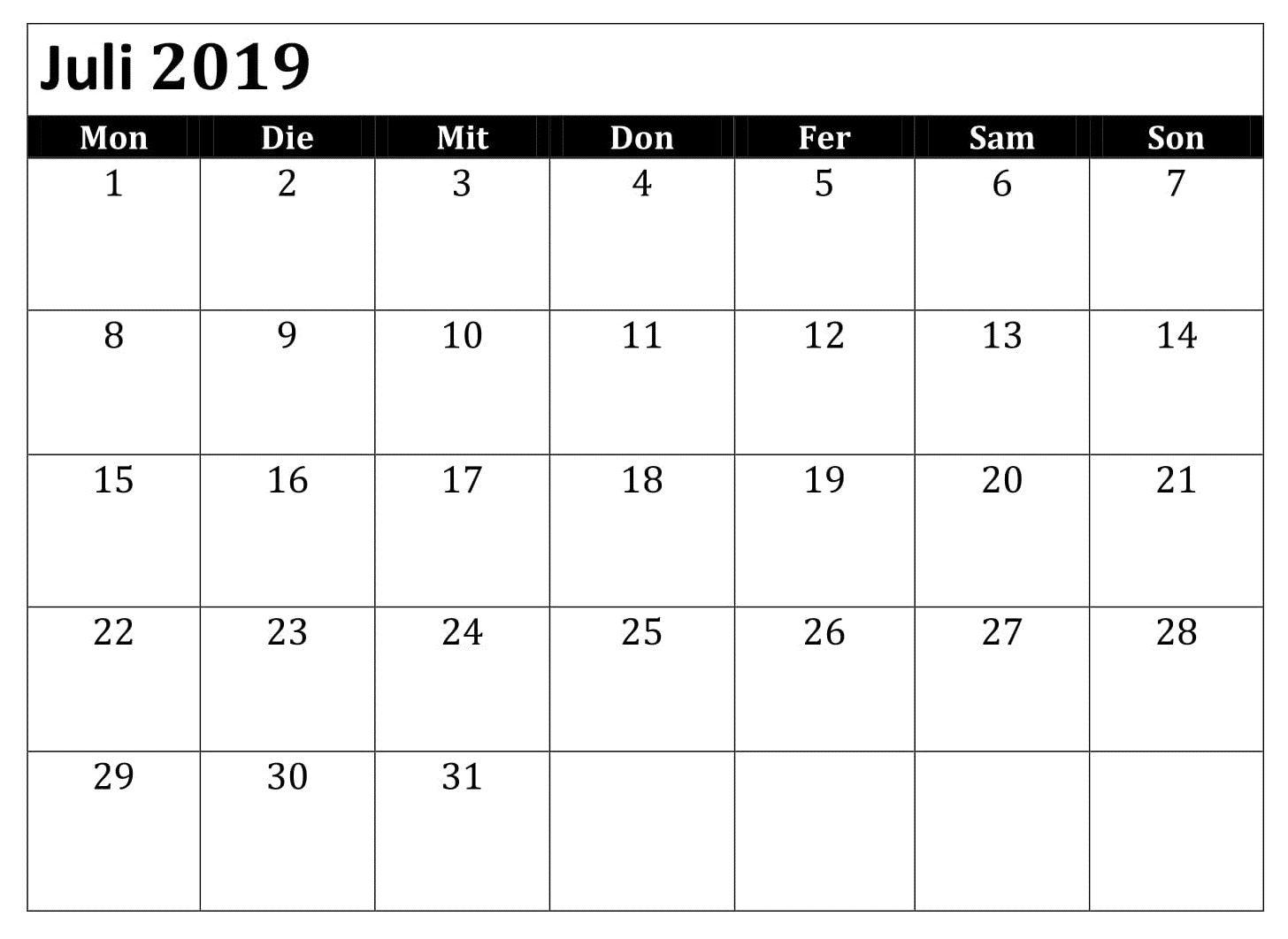 Juli Kalender 2019 Zum Ausdrucken Pdf Calendar Word 2019