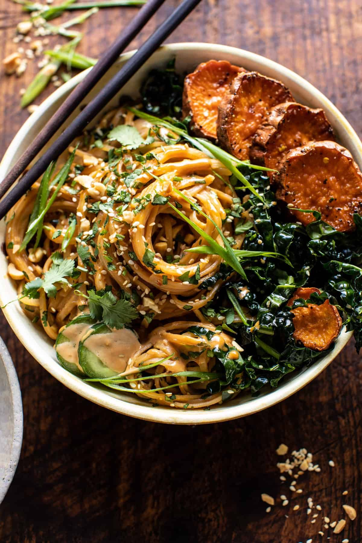Saucy Tahini Noodles with Honey'd Sweet Potatoes |