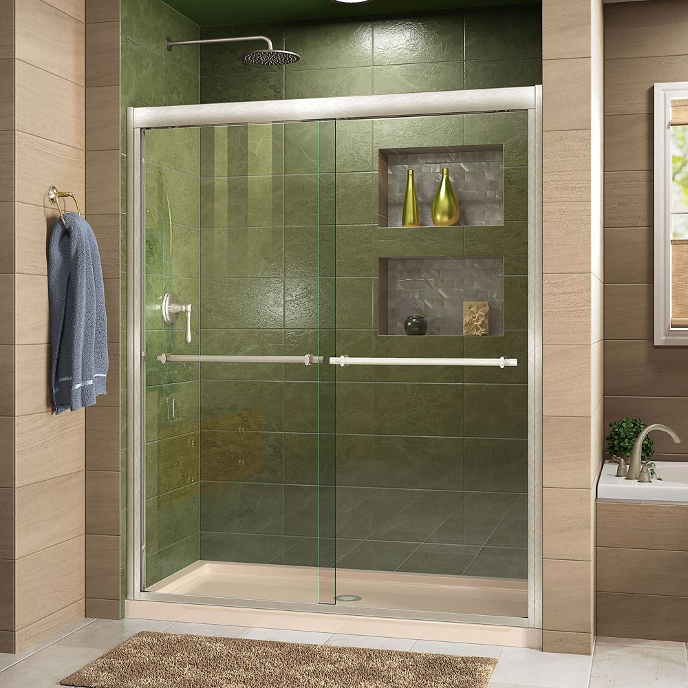 Duet 32 Inch D X 60 Inch W Shower Door In Brushed Nickel With Center Drain Biscuit Base Sliding Shower Door Bypass Sliding Shower Doors Shower Doors