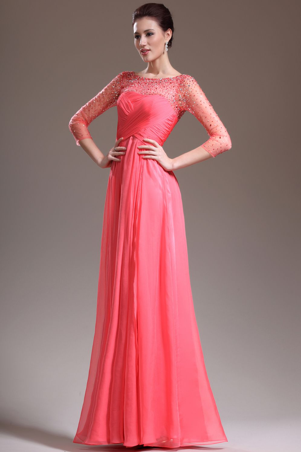 New arrival length sleeve a line floor length prom dresses