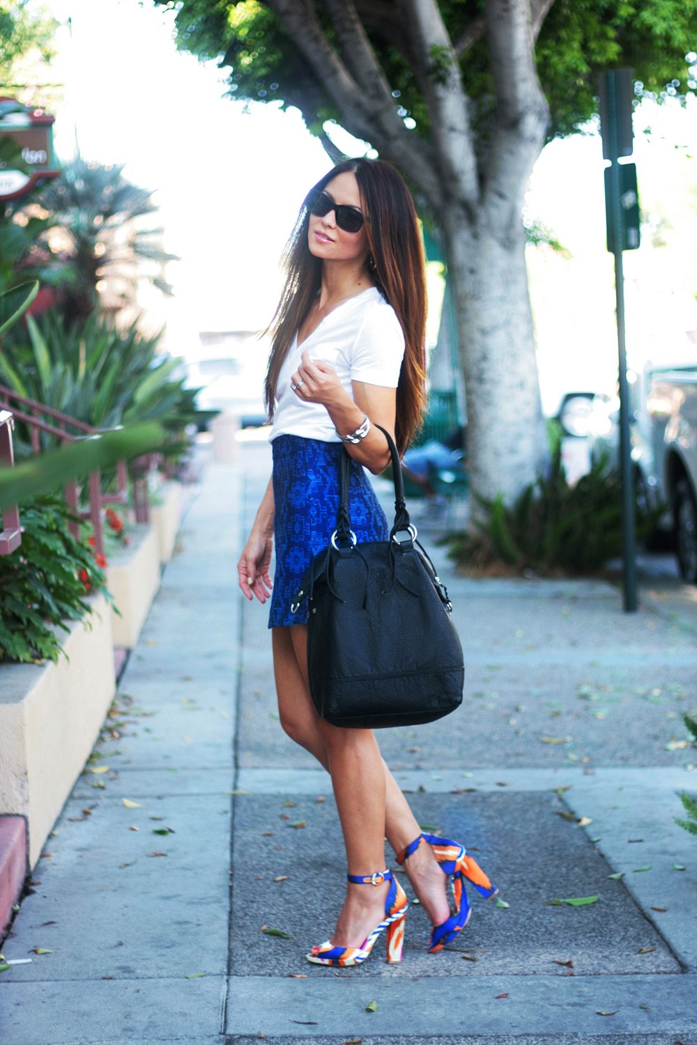 1334791d6c8e The Everygirl s Fashion Essentials  The Summer Heel for Day    styled by  Erika  Brechtel small shop    Zara shoes and skirt     Target tee     Gap glasses  ...