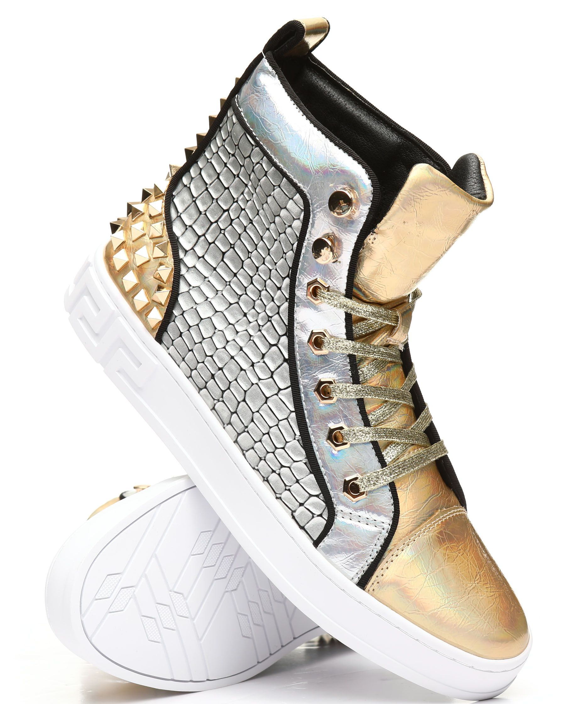 High Top Studded Metallic Sneakers From Aurelio Garcia At Drjays