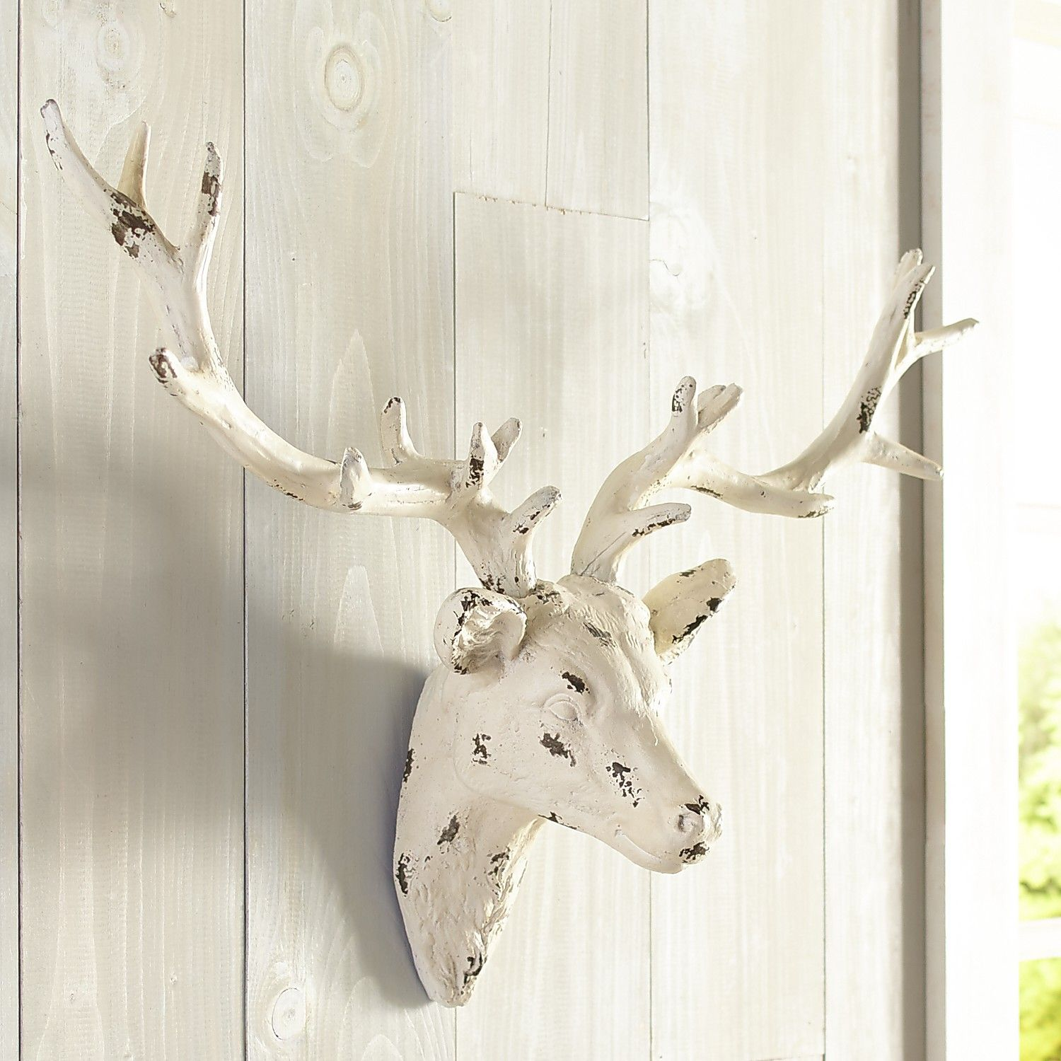 Whitewashed deer head wall decor ivory deer heads decor and deer