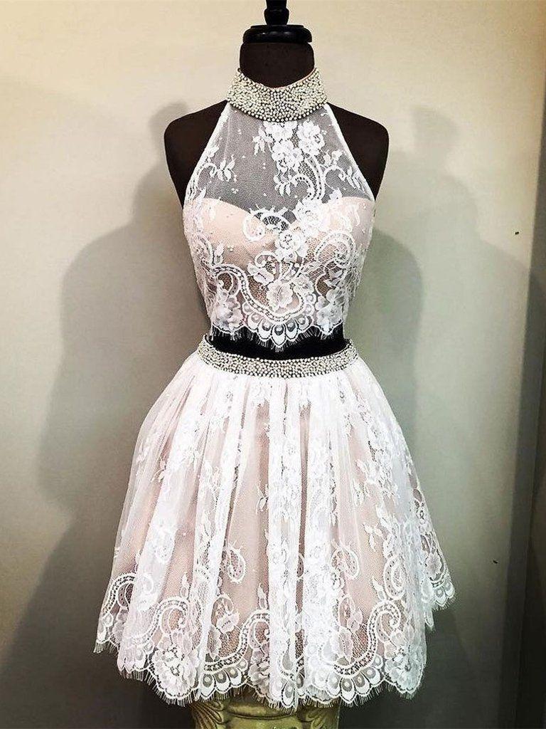 A line pieces short champagne lace prom dresses pieces