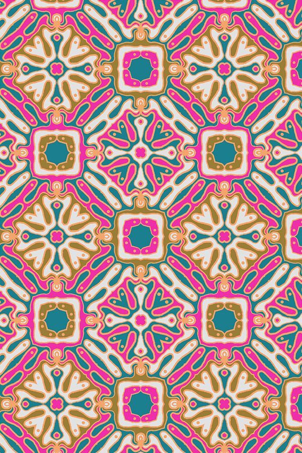 Bohemian Tile by bledsoelm - Pink, olive, teal, and gold ...