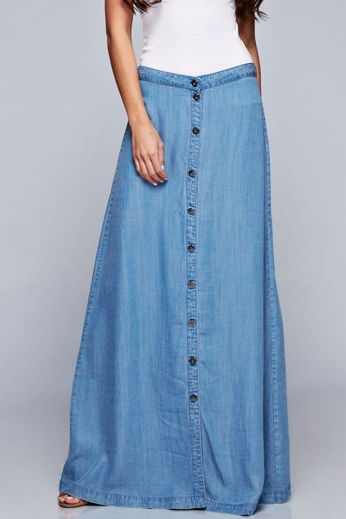 Tencel Button Front Maxi | Long lights, Light denim and Denim skirt