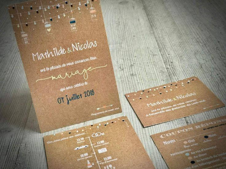 faire part mariage, impression fond kraft, recto verso 10x15cm (A6), style vinta