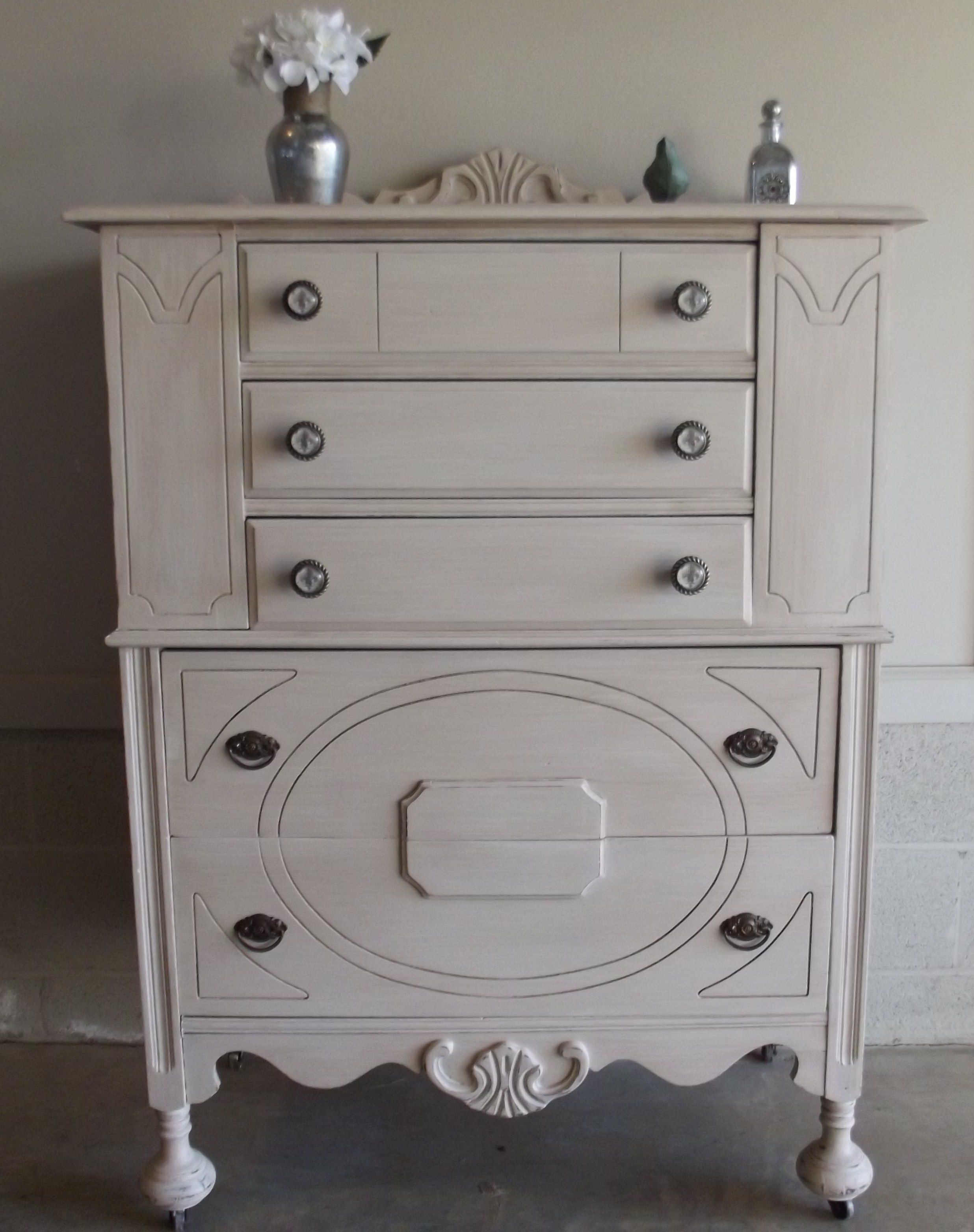 chalk painted vintage dresser