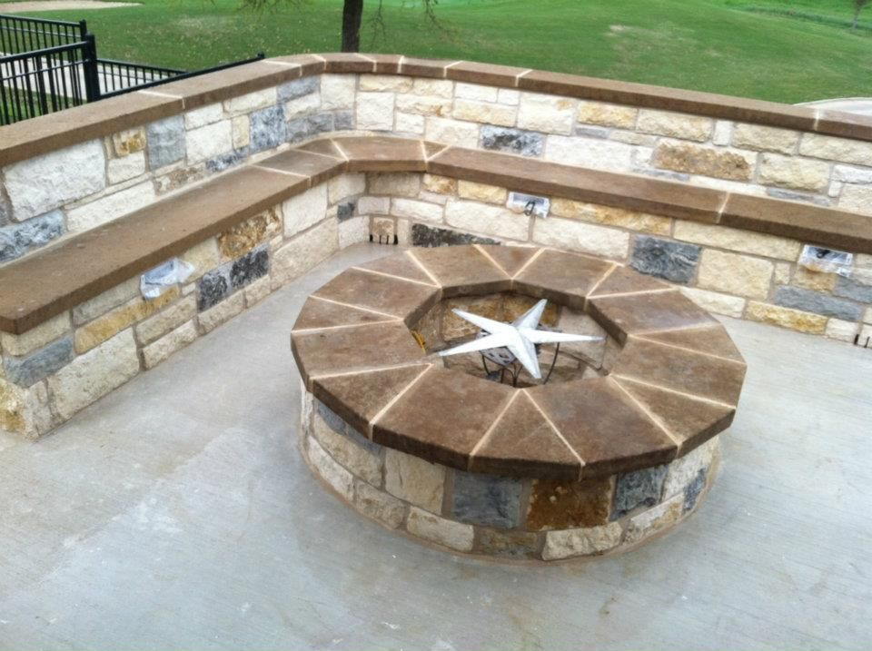 Hillside Patio with Fire Pit Gallery Beautiful patio with seat