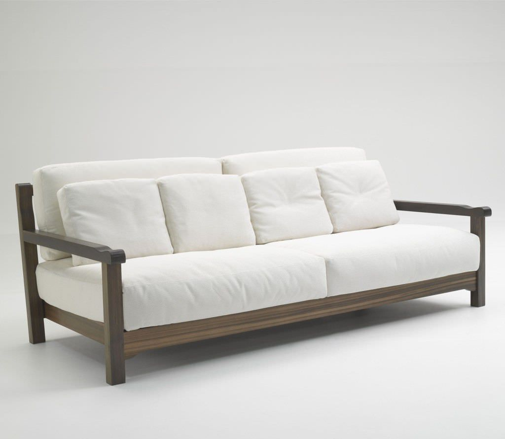 Minimalist Simple Modern White Sofa Design With Wooden Frame For Living Room Furniture Wooden Sofa Designs Wooden Sofa Set Designs Sofa Design