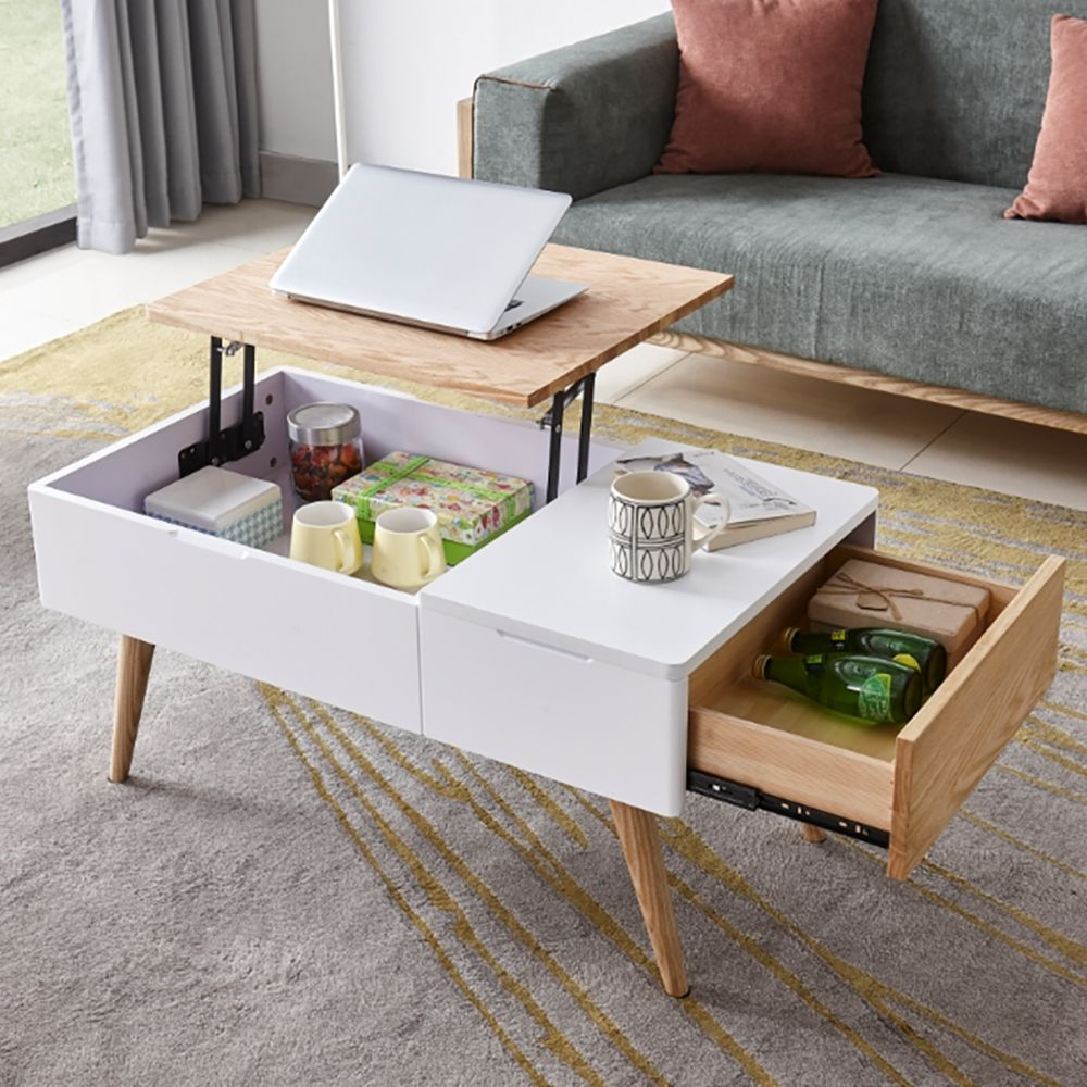 White Natural Rectangular Coffee Table With Drawer Lift Top Hidden Storage Accent Table In 2021 Wood Coffee Table Design Coffee Table Coffee Table Wood [ 1000 x 1000 Pixel ]
