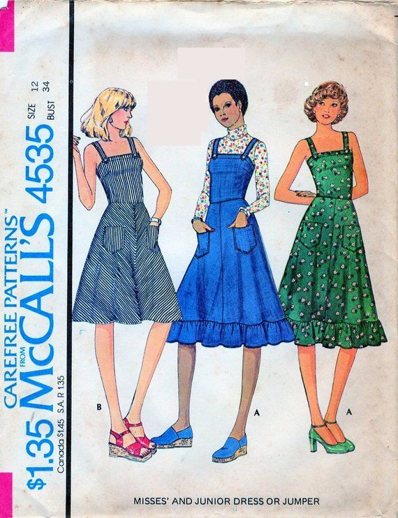 1970s McCall\'s 4562 Misses Sundress or Jumper Sewing Pattern ...