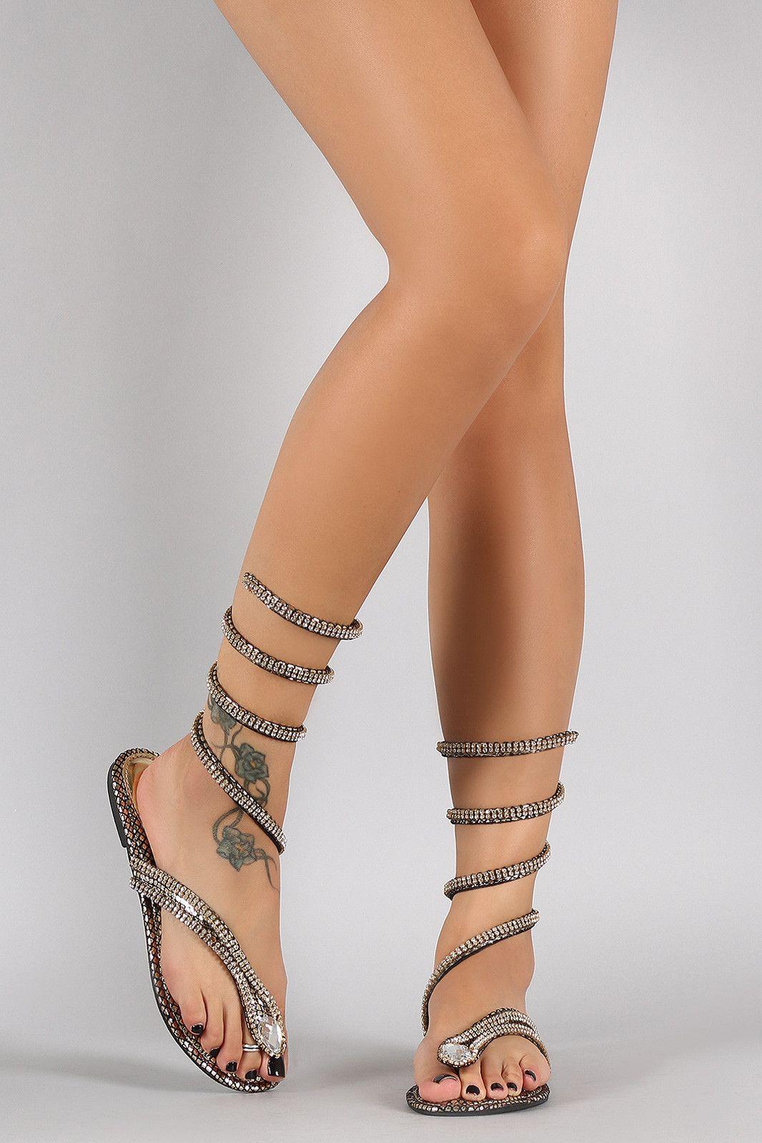 f2270532e9c117 Dollhouse Rhinestone Snake Spiral Leg-Wrap Flat Sandal