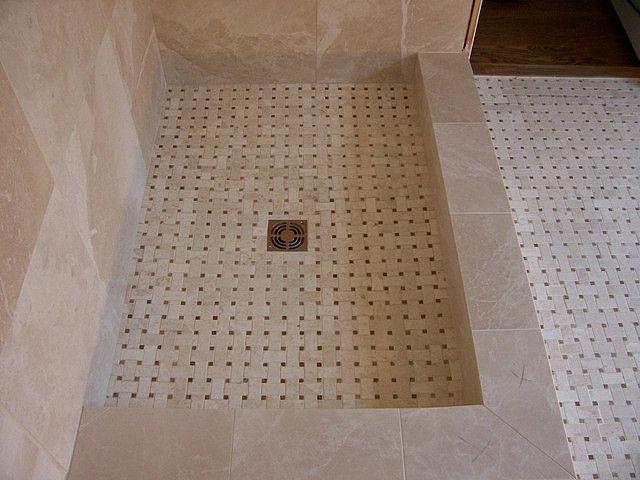 Shower Floor And Floor Is A Travertine Basket Weave Mosaic Travertine Mosaics And Bath