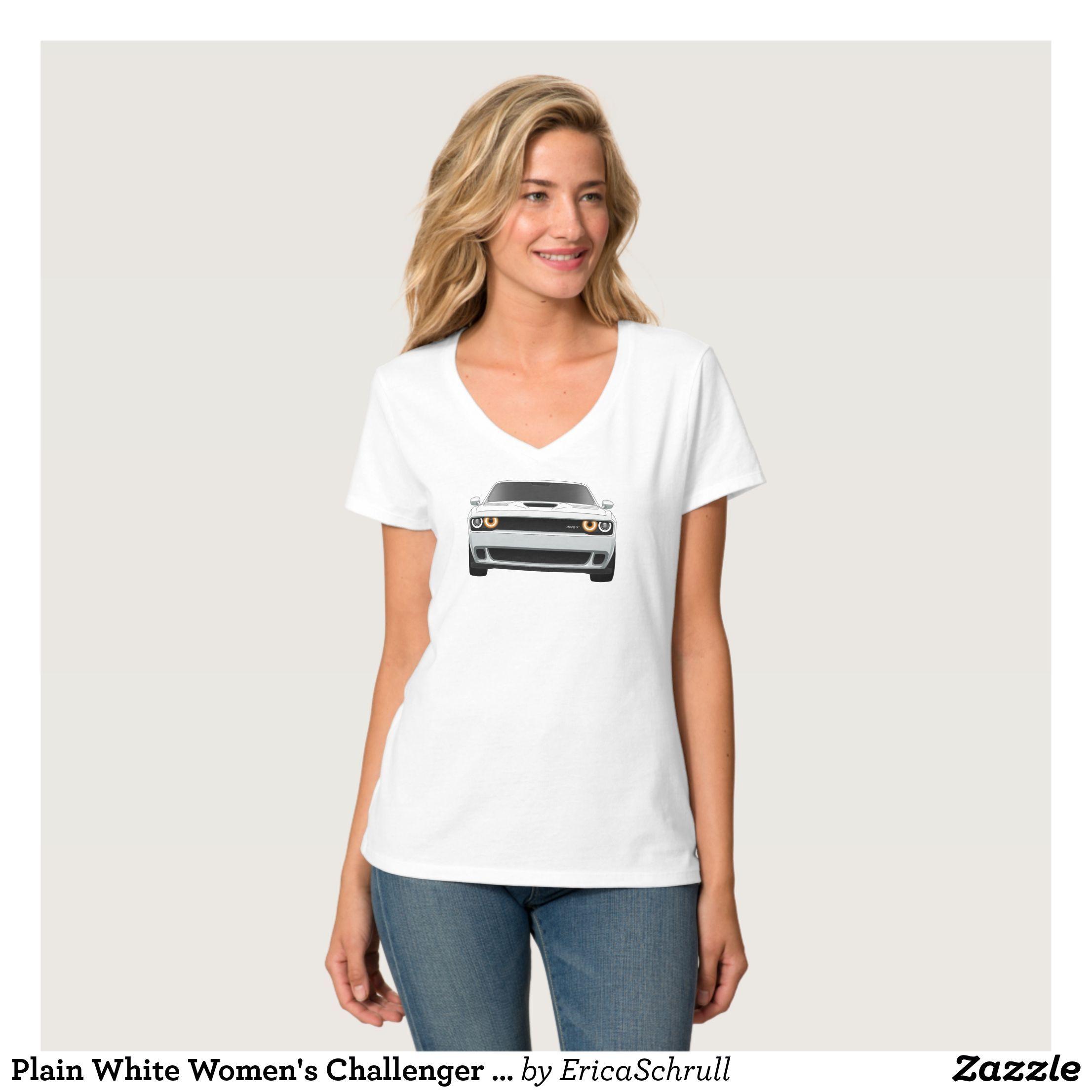 Plain White Women's Challenger Hellcat Vneck Teen T-Shirt - Fashionable  Women's Shirts By Creative