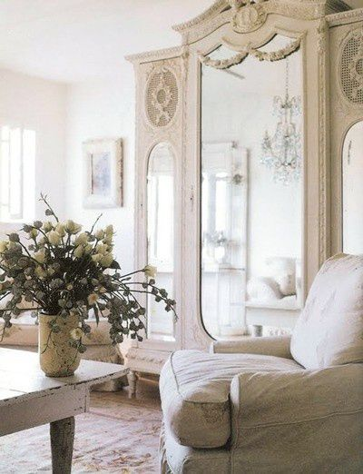 Using A Grand Scale Antique Armoire In An Unexpected Room Or Small  Space   The Mirrored Doors Reflect Beauty U0026 Light Creating The Feeling Of  More Space ... Design Inspirations