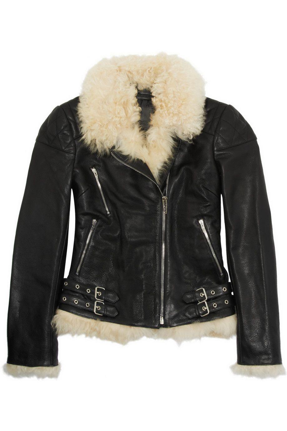 Mcq By Alexander Mcqueen Shearlinglined Texturedleather Biker Jacket in Black.. Cozy