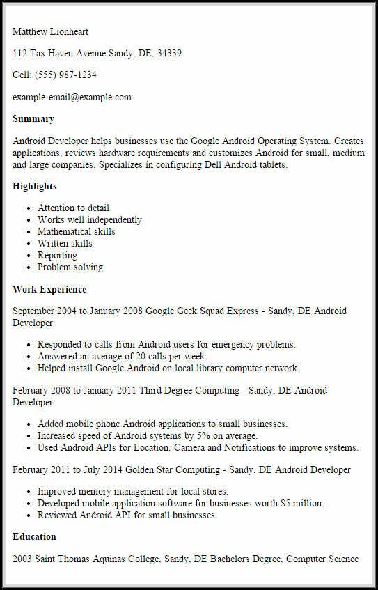 Android Developer Resume If You Have Experience In Application