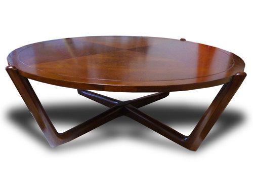 Mid Century Modern Danish Walnut Low Coffee Table Round Vintage X