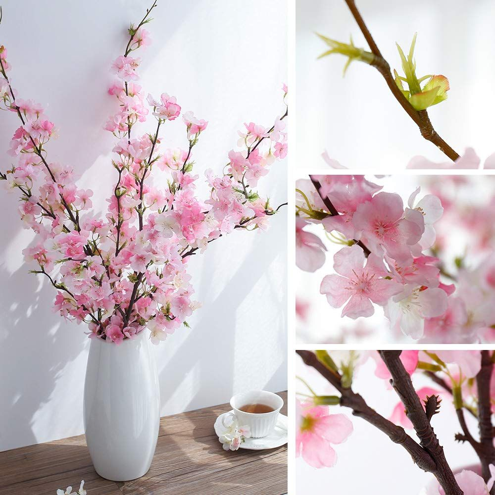 Yuyao Artificial Cherry Blossom Flowers 4pcs Peach Branches Silk Tall Fake Flower Arrangements For Home Wedding Decoration 41inch Pink Silk Flower Arrangem In 2020 Fake Flower Arrangements Fake Flowers Decor Pink