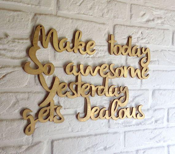 Positieve offerte wand decor - laser gesneden teken - gouden offerte - offertes wand decor - hout ondertekenen - houten borden - citaten over hout - awesome