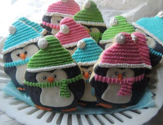 Christmas Penguin Cookies! Penguin Cookies, Holiday Decorated Cookies! 1 Dozen Cookies