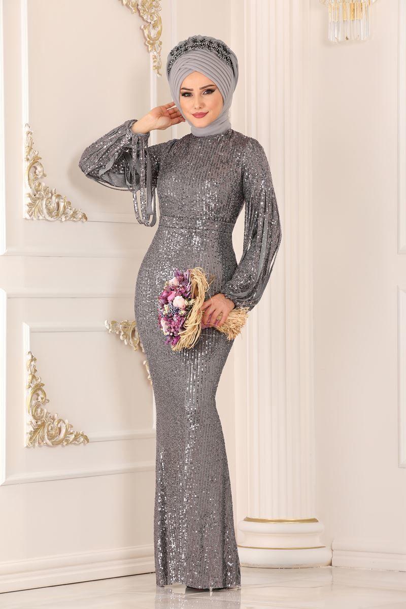 Modaselvim Abiye Pul Payetli Balik Abiye Ech7285 Gumus Aksamustu Giysileri The Dress Moda Stilleri