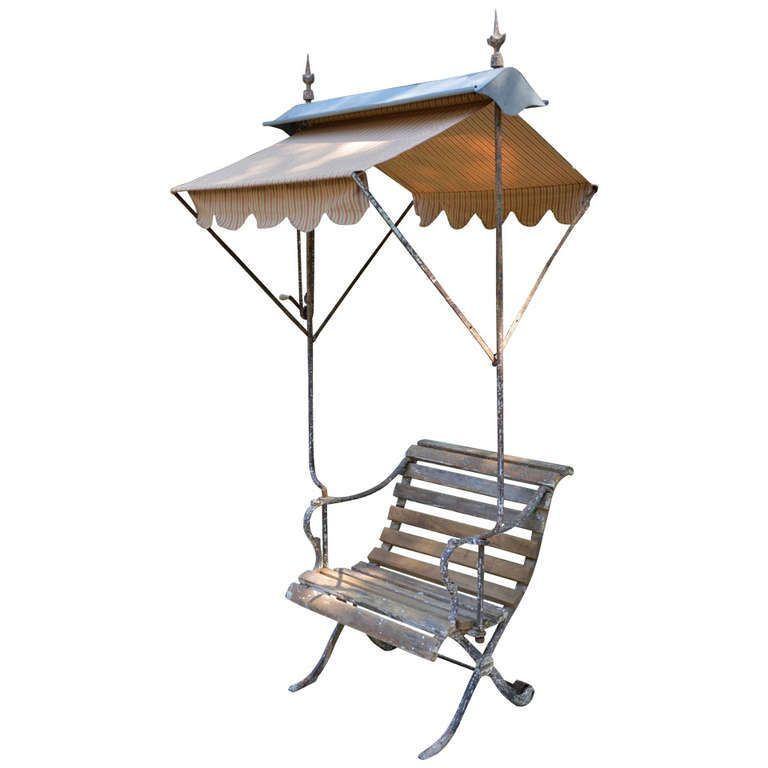 19th C Belgian Garden Chair With Awning Garden Ornaments