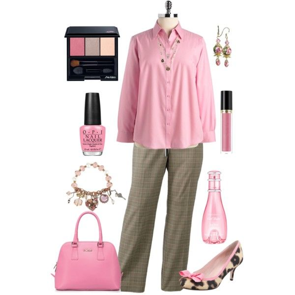 """Plus Size Work in Pink"" by elise1114 on Polyvore"