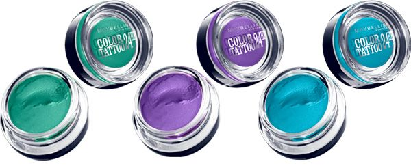 Maybelline Color Tattoo Edgy Emerald Painted Purple Tenacious Teal Maybelline Color Tattoo Maybelline Color Tattoo Swatches Color Tattoo