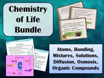 he basic concepts of the matter, atoms, mixtures, solutions, diffusion & organic compounds are necessary for future understanding of cells and living things. This lesson introduces these concepts in a clear and concise way that will engage your class.