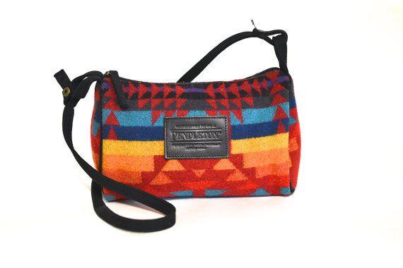Vintage Pendleton Wool Purse - Geometric Southwestern Woolen Small Shoulder Bag