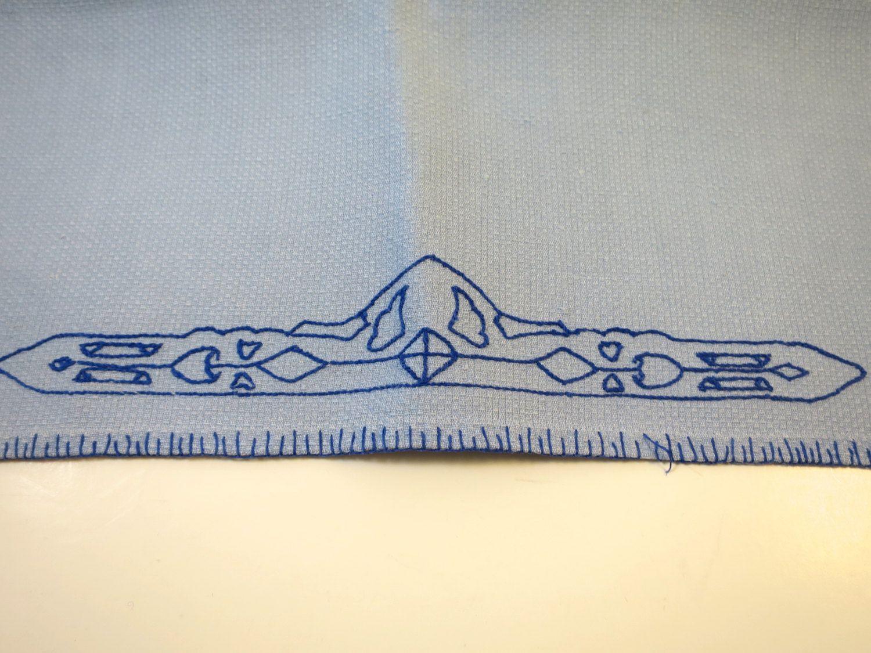 Vintage Blue Kitchen Towel Navy Art Deco Design Embroidery Hem Trim ...