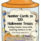 Colorful Halloween candy jar themed number cards can be used with the activity instructions included in this unit or with Number Cards to 120: Workstation Activity Cards