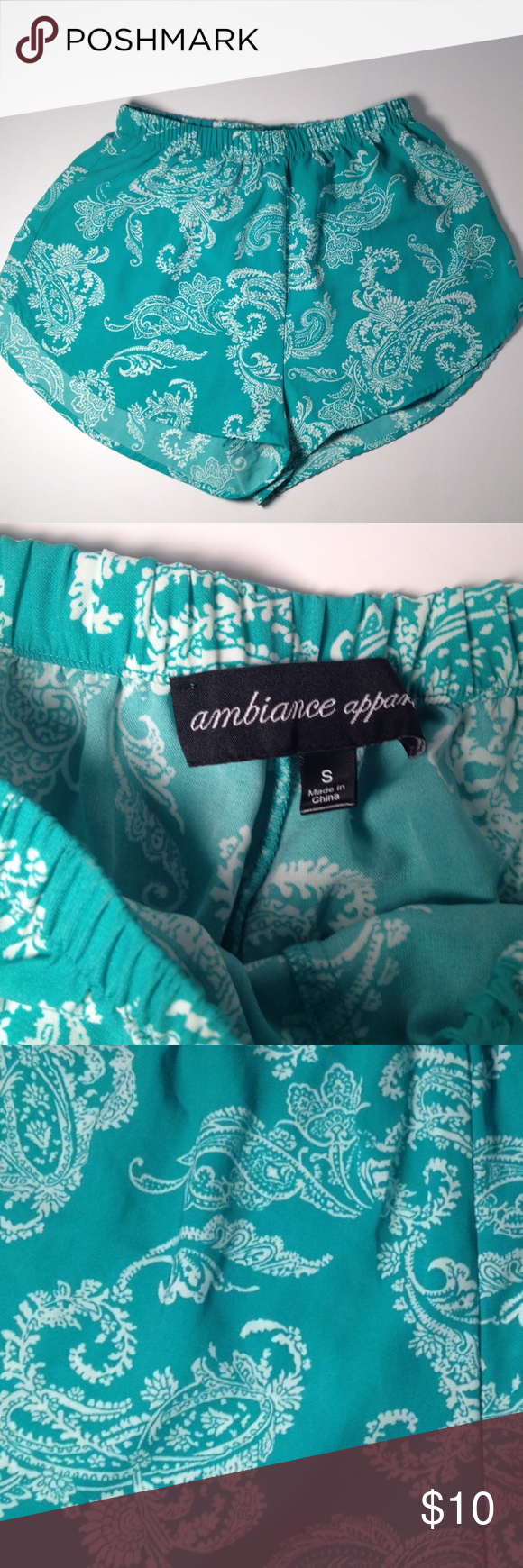 Ambiance Apparel Teal and White Shorts Ambiance Apparel Teal and White Shorts. Size S and composition is 100% polyester. Inseam is roughly 2 inches Ambiance Apparel Shorts