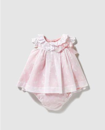 b67d73e8f2f Vestido de bebé niña Dulces en blanco con lazo