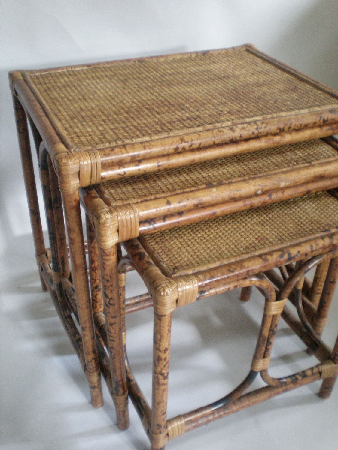 bamboo nesting table  english style tortoise finish  english  - bamboo nesting table  english style tortoise finish