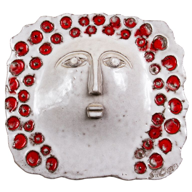 Interesting and unique white and red glazed ceramic wall sculpture of a woman's face by Charles Sucsan. Provenance : from the private collection of the artist. | Exhibitor: Milord Antiques #AVENUE #sculpture