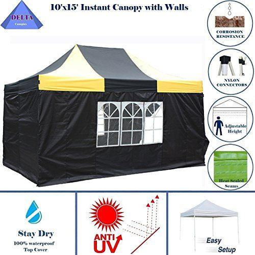 10x15 Ez Pop Up Canopy Party Tent Instant Gazebos 100 Waterproof Top With 4 Removable Sides Blackyellow E Model By Delta C Party Tent Family Tent Camping Tent