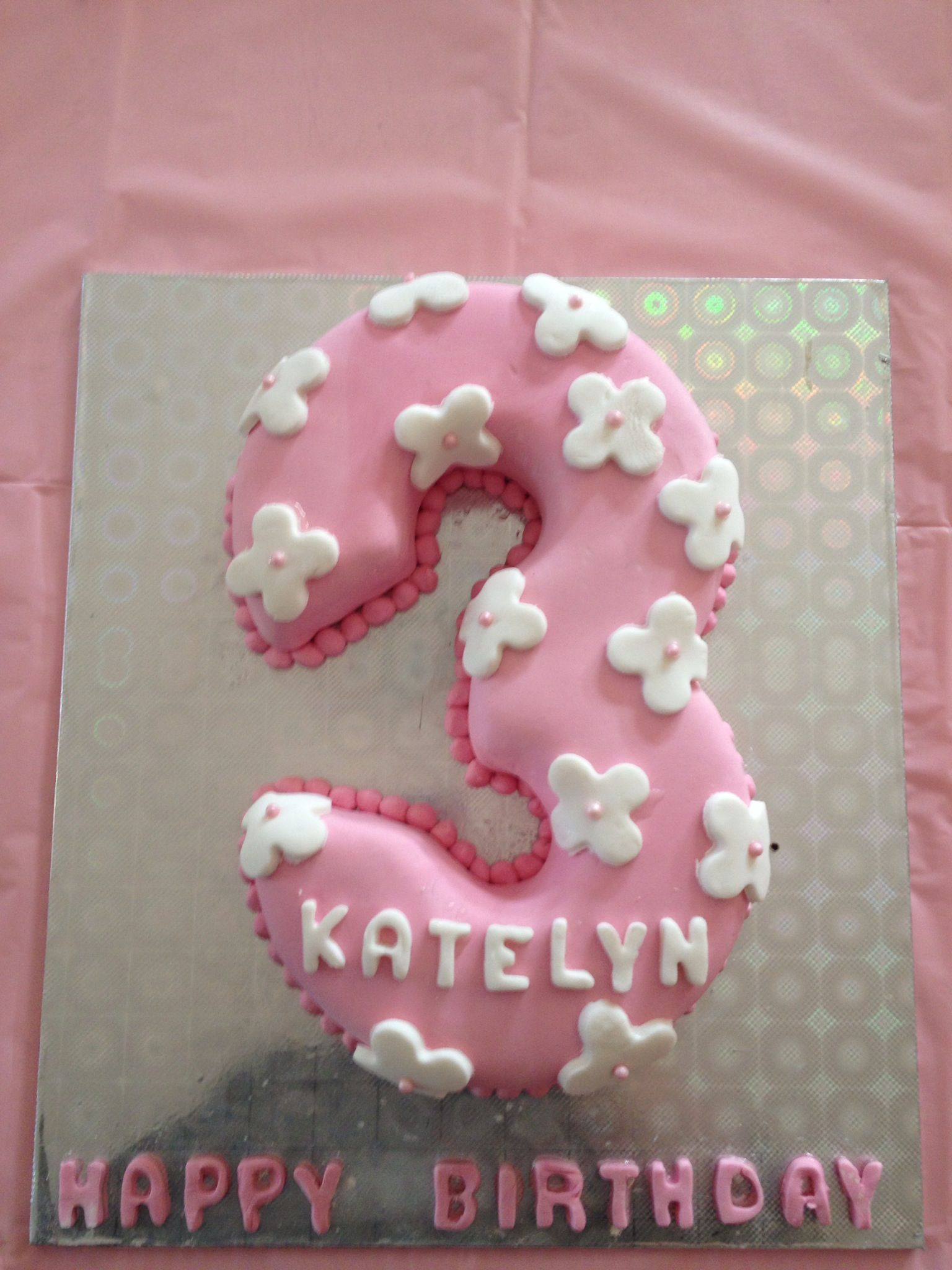 Pink number 3 cake with white flowers Perfect for a little princess