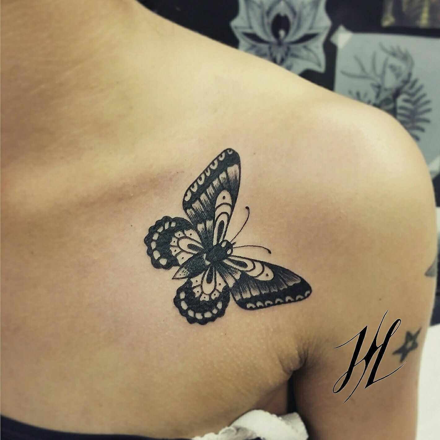 traditional black butterfly by marjorianne body mods pinterest tattoos pics tattoos. Black Bedroom Furniture Sets. Home Design Ideas
