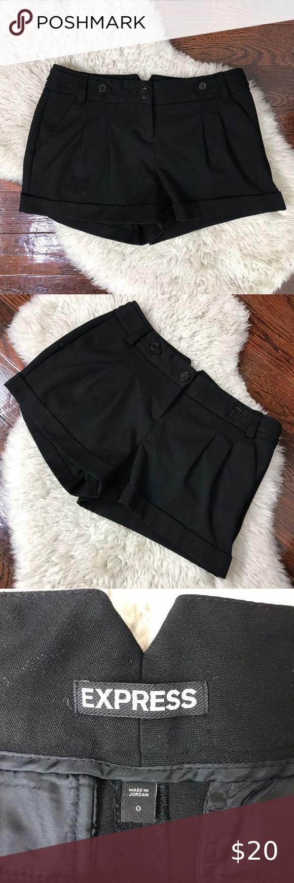 Express Thick Black Dress Shorts Rolled Hem Sz 0 Soft Dress Black Short Dress Short Dresses [ 1740 x 580 Pixel ]