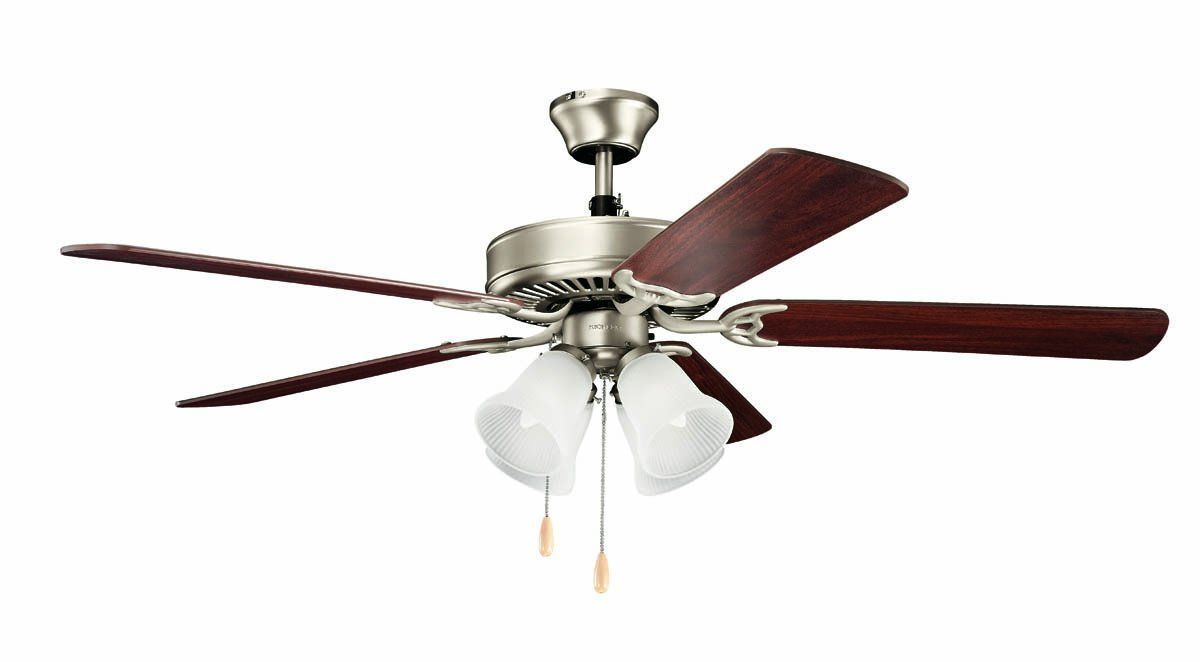 Kichler 4027 52 Indoor Ceiling Fan With Blades Light Kit Downrod And Pull Cha Brushed Nickel Fans Ceiling Fans Indoo Ceiling Fan 52 Ceiling Fan 60 Ceiling Fan