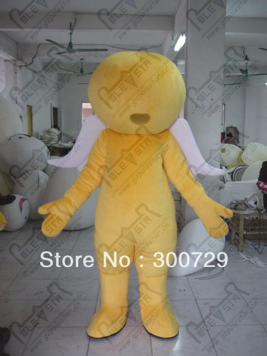 >> Click to Buy << export high quality yellow angel mascot costumes with white wings character round head free shipping quality foam head cartoon m #Affiliate