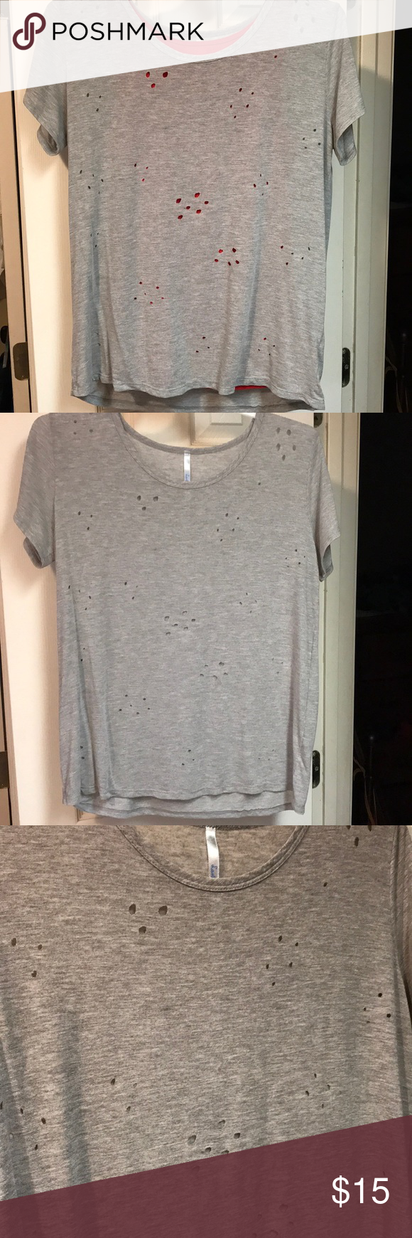 Gray Burn Hole Shirt Clothes Design Fashion Design Fashion Tips