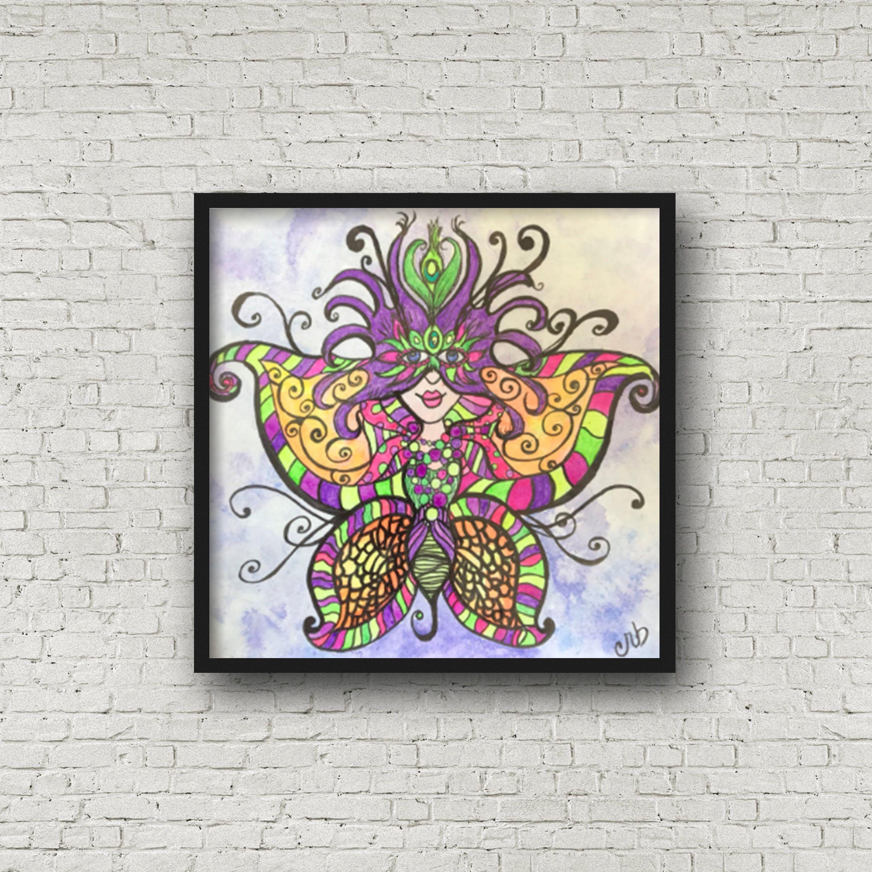 Mardi Gras Fairy Doodle Art Etsy In 2020 Art Doodle Art Art Design