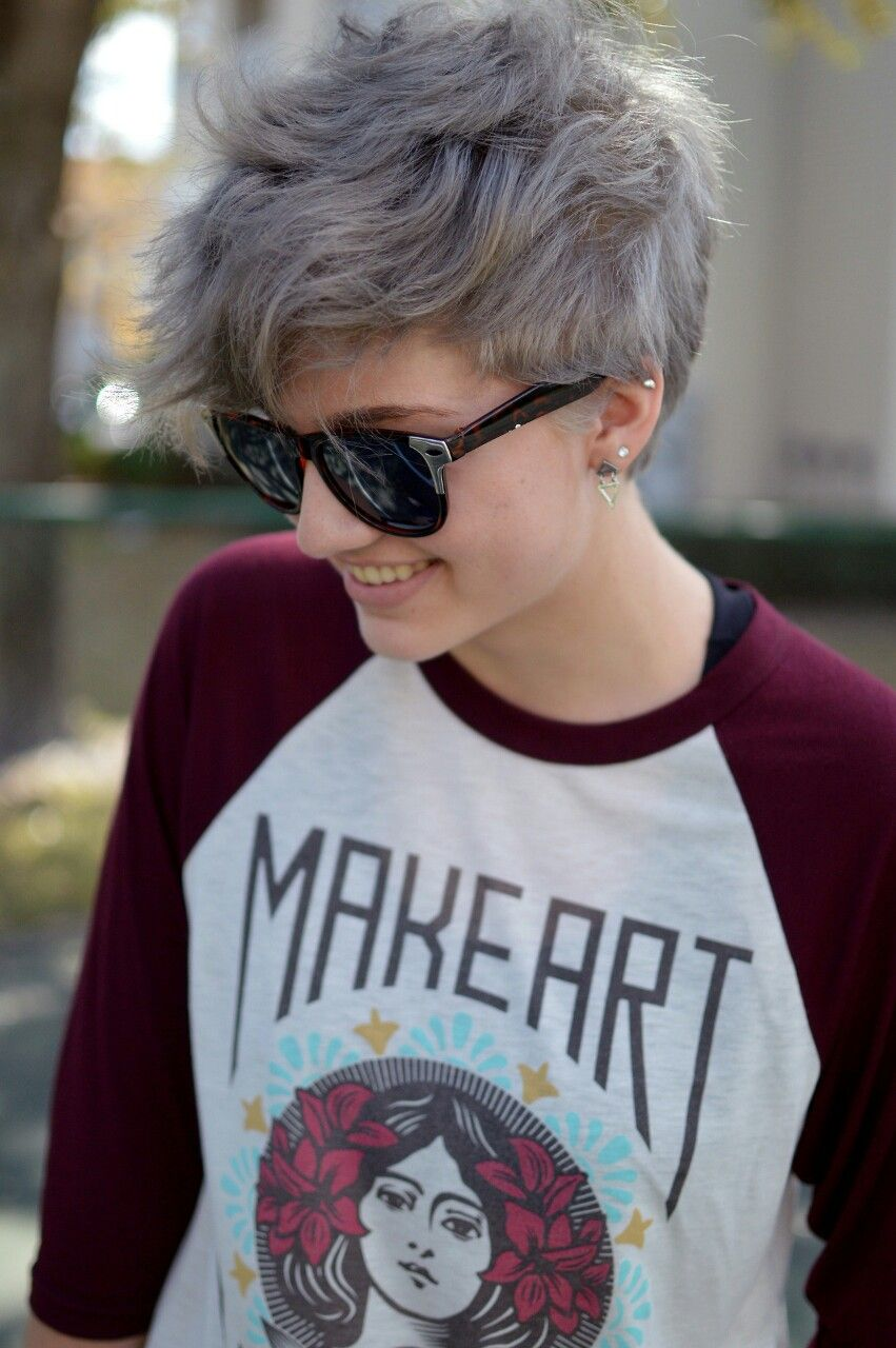 Grey pixie i like the color hair pinterest pixies gray and